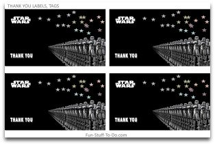 thank you tags, thank you labels, thank you cards, party decorating ideas, star wars party ideas, party decorations, birthday party themes