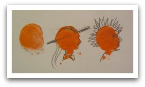 thumbprint art, easy art, fingerprint crafts, easy face