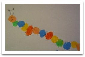 thumbprint caterpillar, easy art, easy crafts
