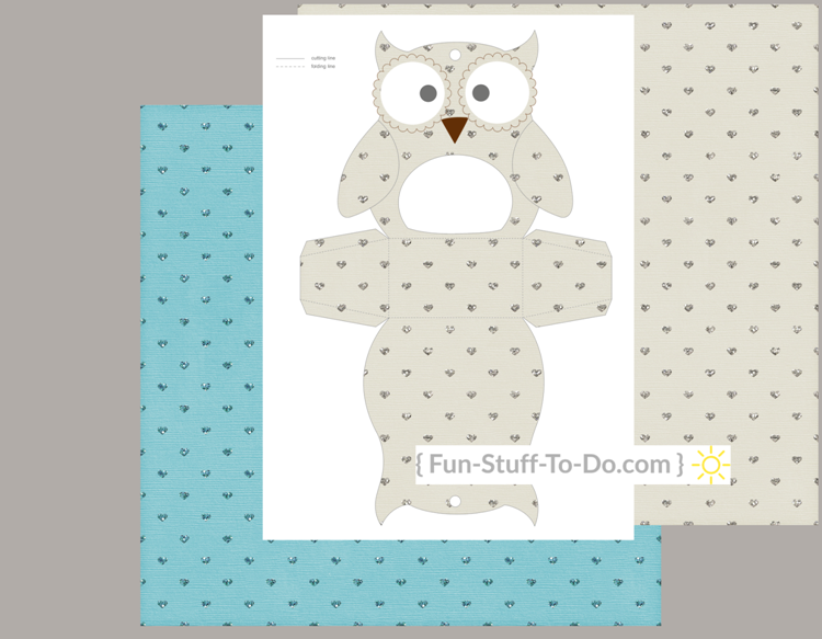 Owl box transparent craft overlay pattern template with individual parts