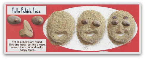 sand faces, pebble crafts, pebble face, easy craft, easy crafts for kids, make fun stuff, make fun things