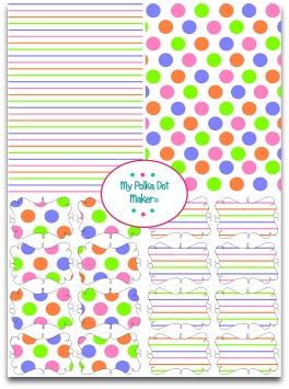 polka dots, stripes, white, rainbow