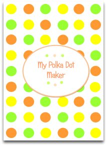 polka dots, candy, orange, yellow, green