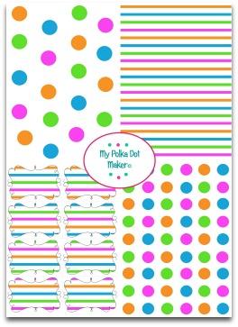 polka dots, stripes, pink, green, blue, orange