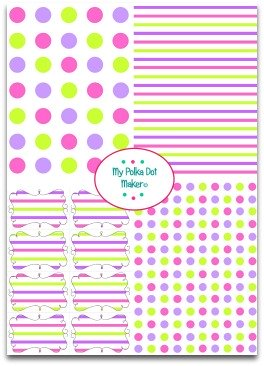 polka dots, stripes, pink, purple, green