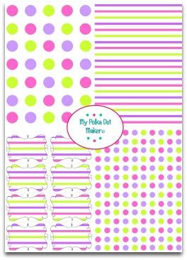 polka dots, stripes, pink, purple, green
