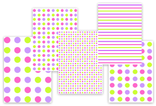 pink purple green polka dots